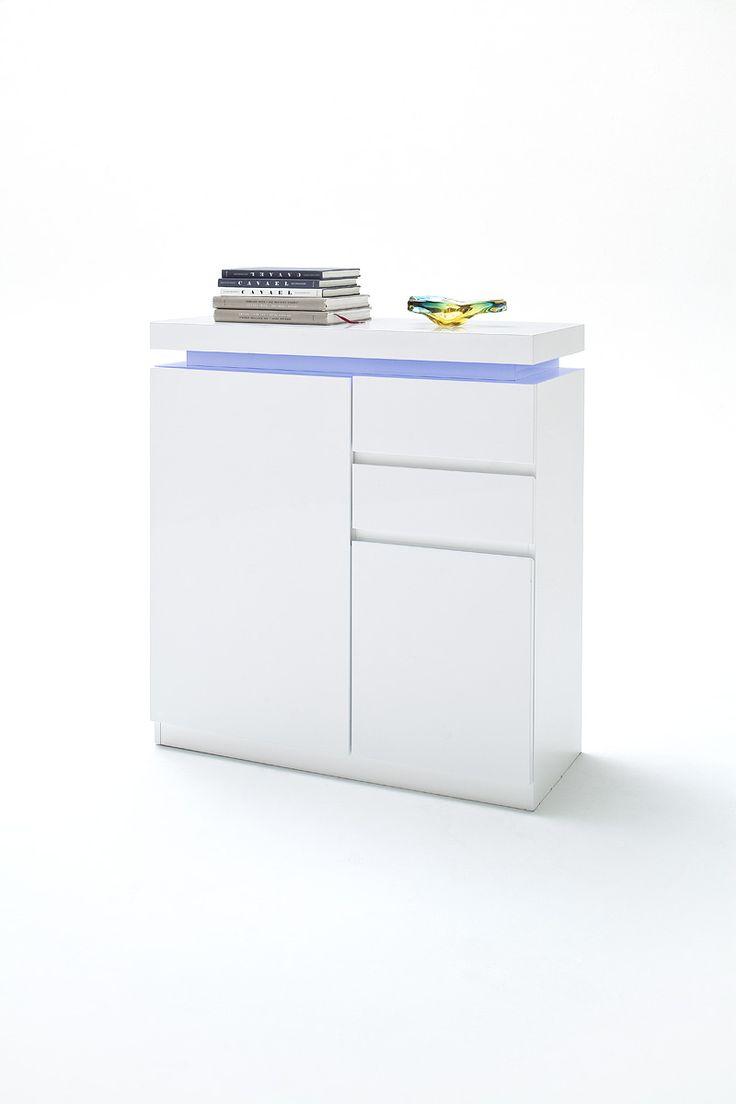 Schuhschrank Nemo Inkl. LED Hochglanz Weiß Lackiert Passend Zum  Garderobenprogramm Nemo 1 X Schuhschrank Inklusive