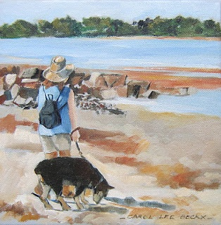 """Brighton Park: walking the dog SOLD  oil on canvas  8""""x8"""""""