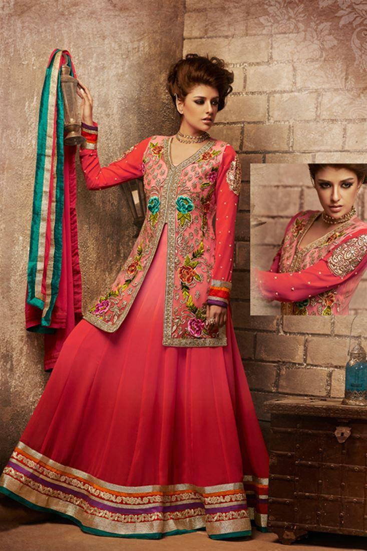 Pink Georgette Resham Embroidered Floor Length Anarkali Suit @ 50% discount