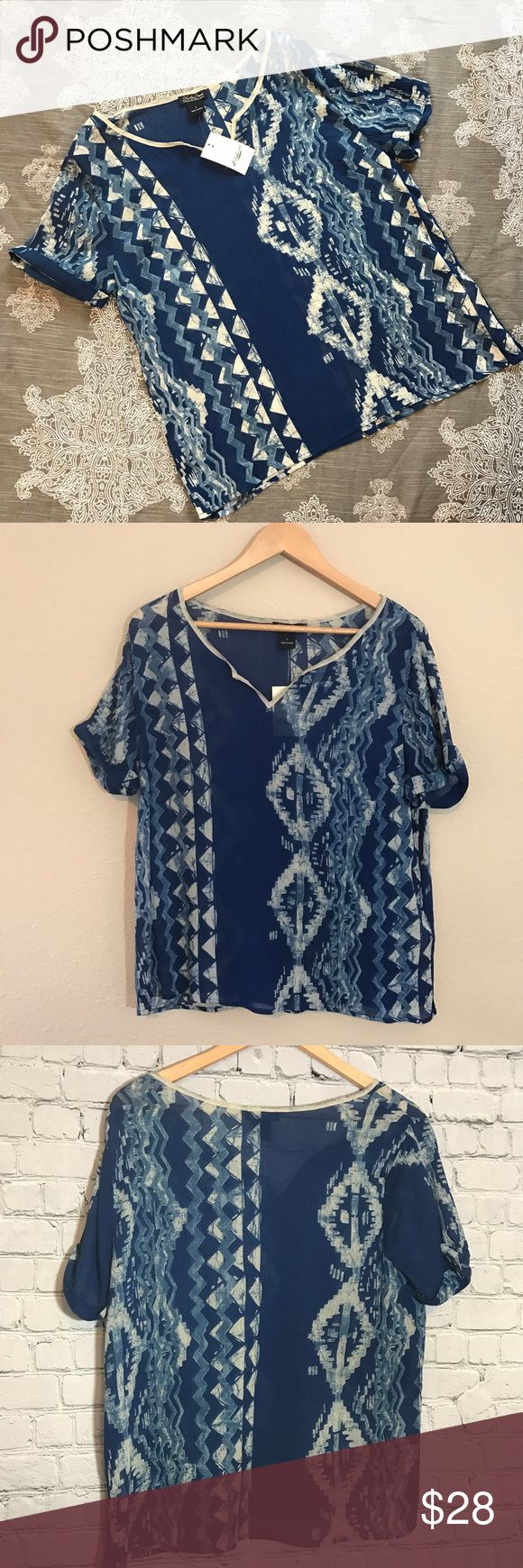 {Lucky Brand} Boho Aztec Top Blue  NWT Brand new! Super light cotton. Perfect for hot summer days ❤ Lucky Brand Tops Blouses