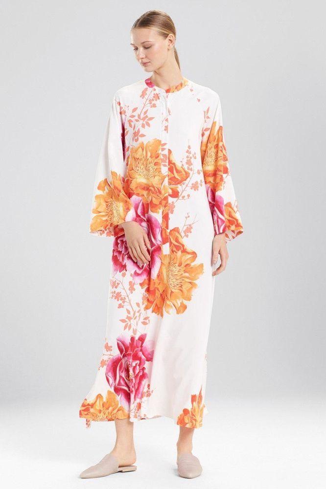 8c493c0401 Natori Bali Caftan Floral Kaftan Gown Warm White Large New Nwt Josie ...
