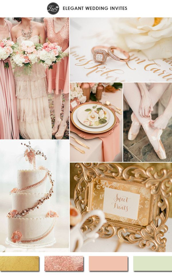 rose gold and blush with hint of sage green wedding color ideas for 2015 trends #elegantweddinginvites
