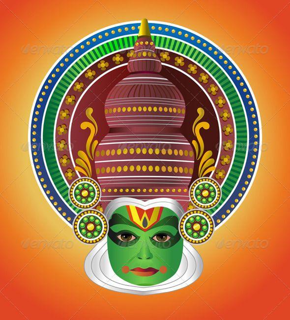 South Indian Traditional Kathakali Dancer #GraphicRiver