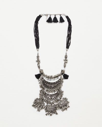 LONG NECKLACE WITH METAL PIECES from Zara