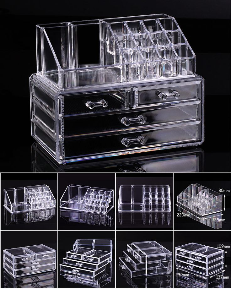 Clear Acrylic Cosmetic Organizer: makeup drawers, display box, cabinet case set