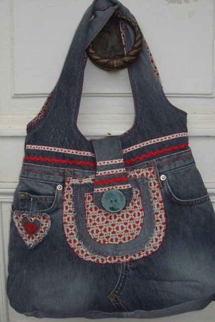 cute recycled jeans bag