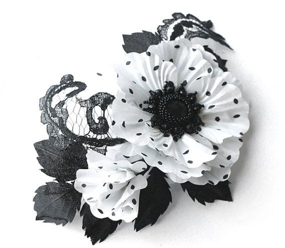 Polka+dot+silk+flower%2C+White+and+black+fabric+flower+brooch%2C+bridal+brooch%2C+flower+for+sash%2C+bridesmaid+hair+clip%2C+mother+of+a+bride+brooch.