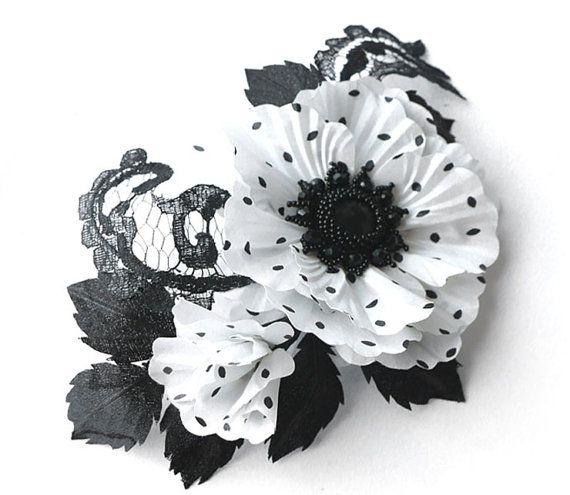 Polka+dot+silk+flower%2C+White+and+black+fabric+flower+brooch%2C+bridal+brooch%2C+flower+for+sash%2C+bridesmaid+hair+clip%2C+mother+of+a+bride+brooch.