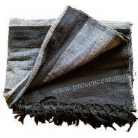 Tenture Kérala plaid couvre-lit Noir Gris