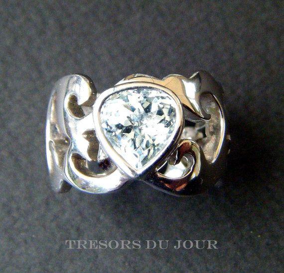 Unique STATEMENT RING with Aquamarine, Custom Damask Ring with Aquamarine by TresorsDuJour