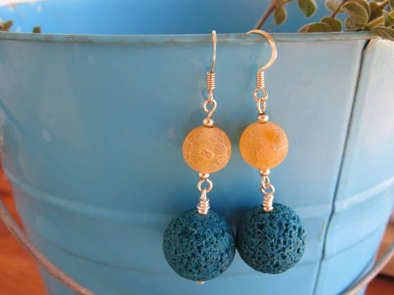 Lava And Agate Dangle Earrings by RubiesAndBees on Etsy