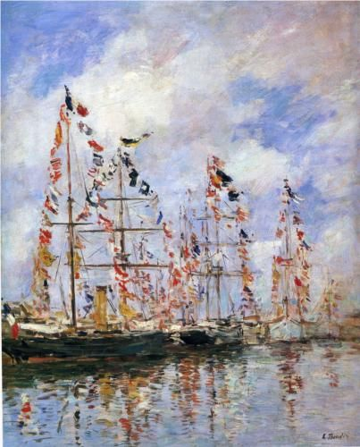 Sailing Ships at Deauville - Eugene Boudin
