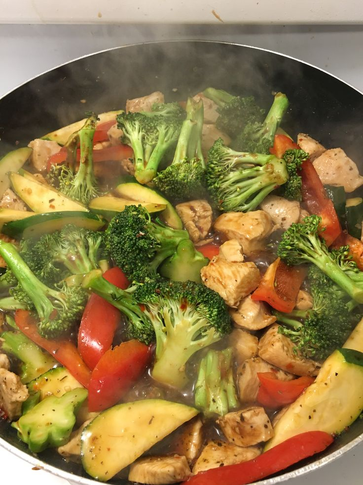 Chicken stir fry - sesame oil, chicken, drain, veggies, soya sauce, hoisin sauce, sweet chili sauce, ginger, vegetable spice