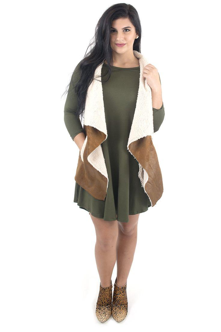 Women's Vest-Fur and Faux Suede Vest Camel