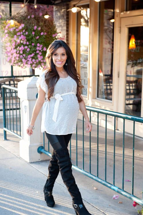 Maternity style: Leather pants and over the knee boots ...