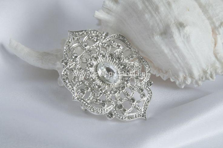 Biżuteria z kryształkami, broszki ślubne
