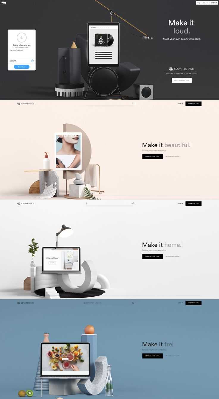 Squarespace has simple & elegant graphics that change constantly.