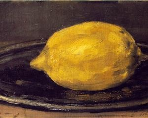 """The Lemon - Edouard Manet attached great importance to still life, which he considered to be the """"touchstone of the painter"""". Tired of history painting and of the """"pretentious productions"""" that weighed down contemporary artistic production, he confessed: """"A painter can say all he wants to with fruits or flowers, or even clouds. """"The most vociferous enemies of Edouard Manet's talent grant him that he is good at painting inanimate objects"""" noted Emile Zola in 1867."""