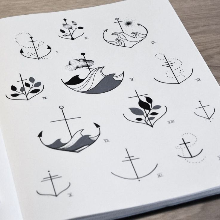 """75 Likes, 4 Comments - FINELINE TATTOO ARTIST (@alinabaertattoo) on Instagram: """"ANCHOR SKETCHES FROM OUR •••TINY TATTOO EXHIBITION••• Some designs still available... 🖤 . !!!PLEASE…"""""""