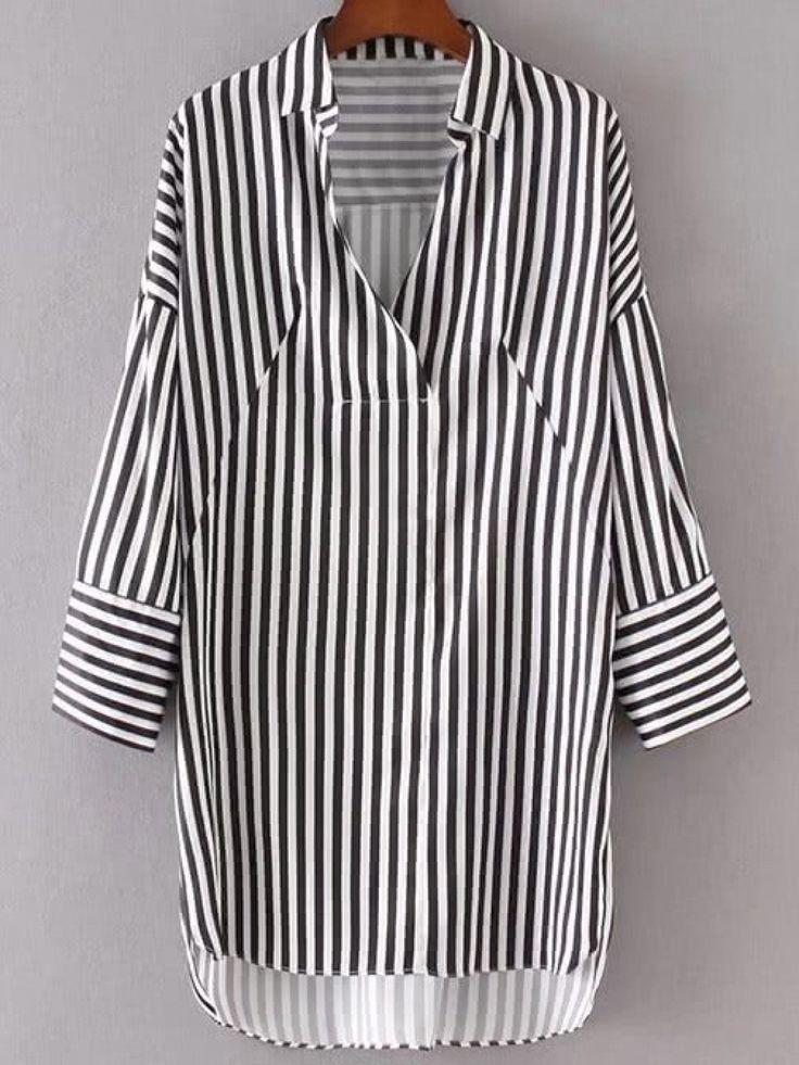Dresses by BORNTOWEAR. Vertical Striped High Low Shirt Dress