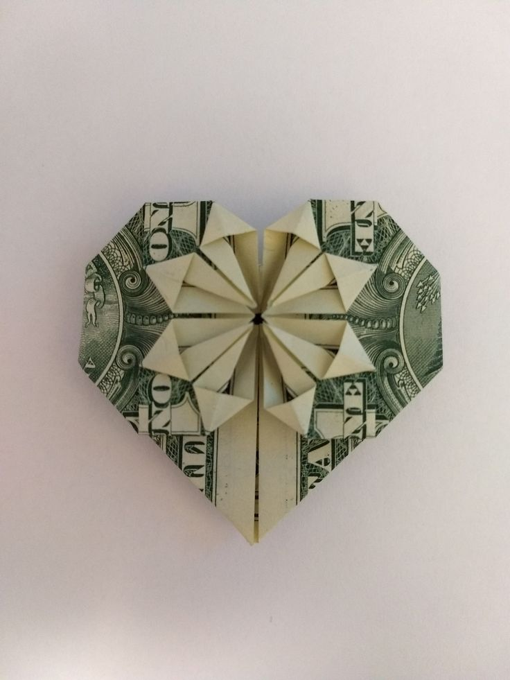 Money Heart Origami- made with US currency 1 dollar bill, Use as Bookmark, Back to School Gift, Birthday's, Teacher Gift, Special Occasions
