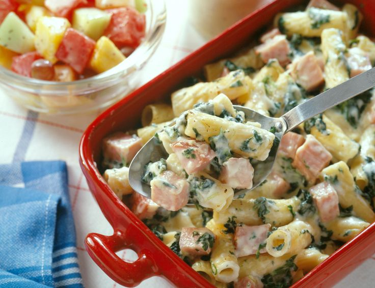 This casserole uses cubed Ham with Fruit Glaze and can be prepared the day before serving. Serve with fruit salad with poppyseed dressing.