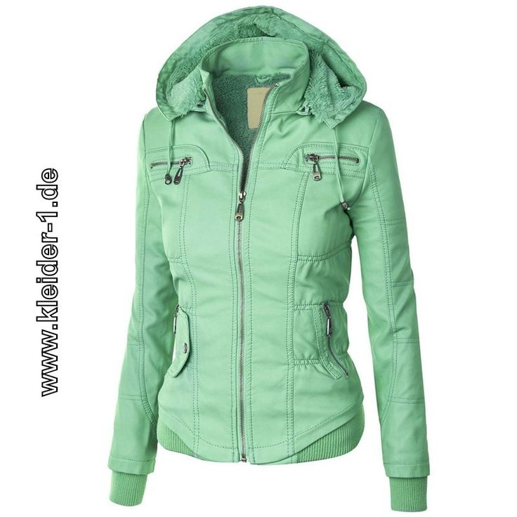 Damen Zipper Jacke mit Fleece Kaputze in Mint Grün