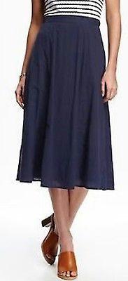 ** Old Navy sz 10P ~ navy blue linen cotton midi skirt NWOT!