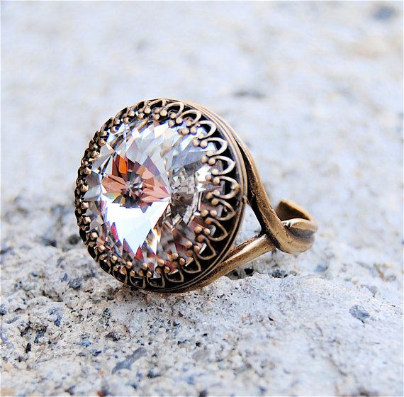 Chiara diamante di cristallo Swarovski anello di cristallo vittoriano Crwon Clear Crystal Diamond ottone antico anello regolabile Mashugana