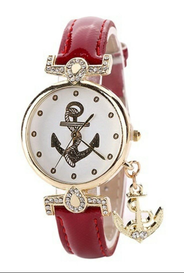Anchor Watch with Charm Dangle in 3 Color Choices