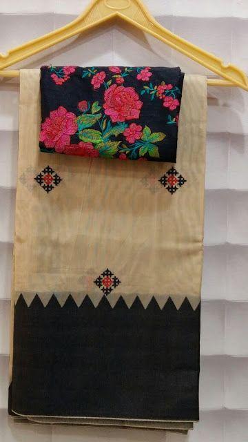 Kachh work sarees with jute border with designer blouses | Buy Online Designer Sarees | Elegant Fashion Wear