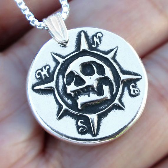 Pirate Compass necklace, Sterling Silver Skull necklace Memento Mori comopass pendant pirate pendant skull Jewelry pendant necklace N-159