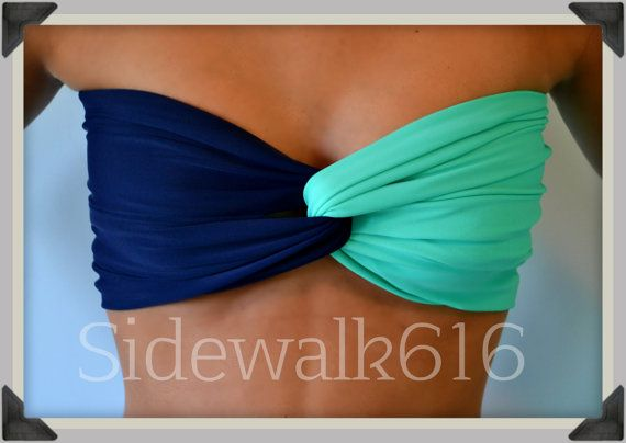 Navy Mint Bandeau Top Spandex Bandeau Bikini Swimsuit