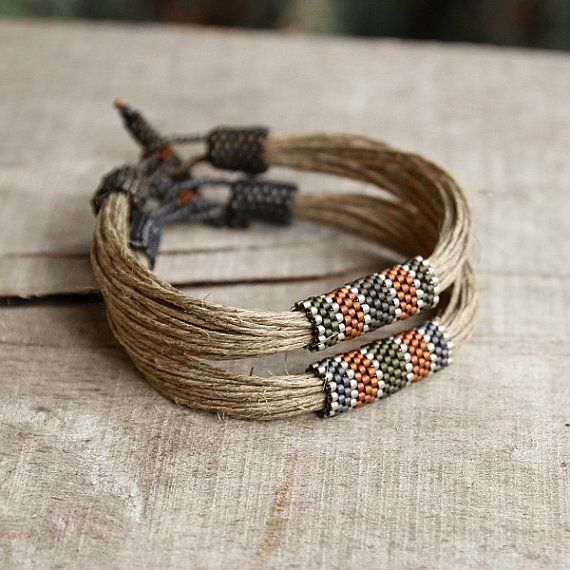 Organic Mens Bracelet Cool Linen Jewelry Nautical by Naryajewelry
