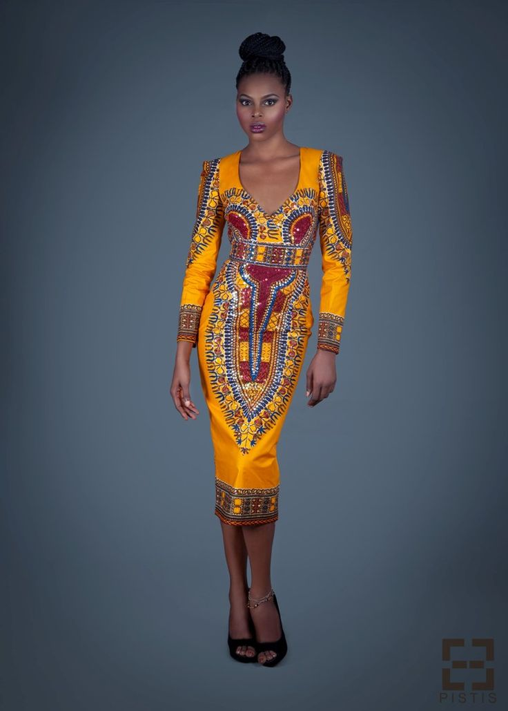 African print sequin dashiki pencil skirt dress.