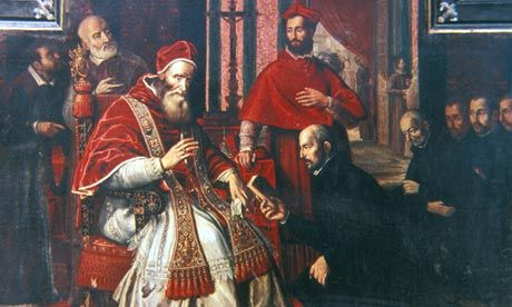 A painting of St Ignatius Loyola (kneeling), founder of the Society of Jesus, with Pope Paul III in 1534. Photograph: Roger Viollet Collection/Getty Images  http://www.theguardian.com/world/2013/mar/14/pope-francis-who-are-the-jesuits