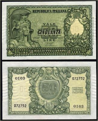 Collezione Personale di Banconote Italiane: 0.0.1. - 50 LIRE ITALIA ELMATA