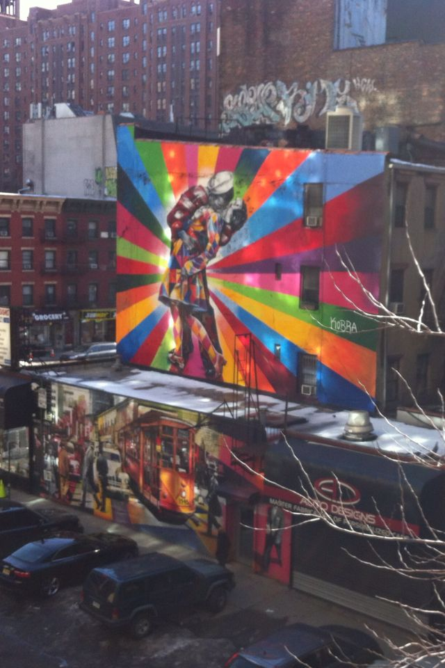 #StreetArt of #Manhattan, Brooklyn, NYC.  Seen from the high line. Over this artwork, a graffiti reminding us the real sense of a street artwork