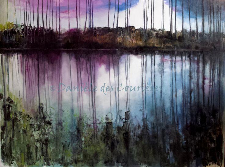 Au bord de l'eau (Huile - 116 x 90) www.daniele-des-courieres.fr