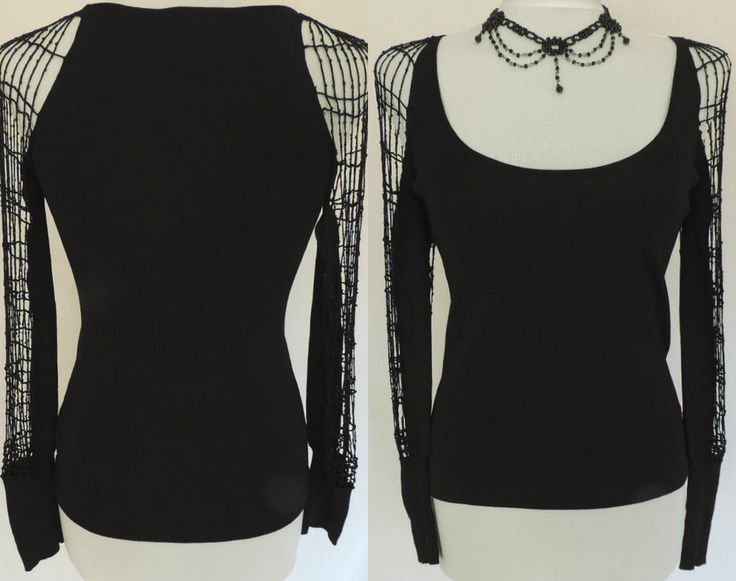 Dark Angel - Romantic Goth -Evening - Party. styled in a lovely black stretchy silky ultra-fine rib machine knit fabric. Sexy - Seductive - Vamp - Fitted - Feminine. with the most amazing full length openwork cobweb crochet sleeves subtly. | eBay!