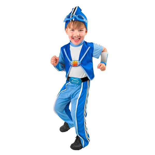 This licensed toddler costume is inspired by Sportacus from Nick Jr's Lazy Town. - Jumpsuit with attached belt and buckle - Cuffs - Head stocking with goggles - Licensed Lazytown costume - Size: Toddl