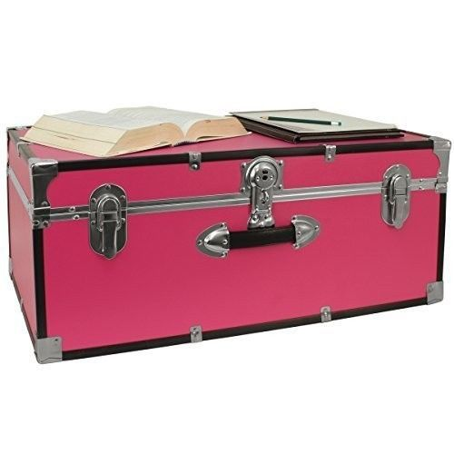 Dorm Room Storage Organizer 30 Inch College Trunk Camp Lockable Lightweight  Pink Part 20