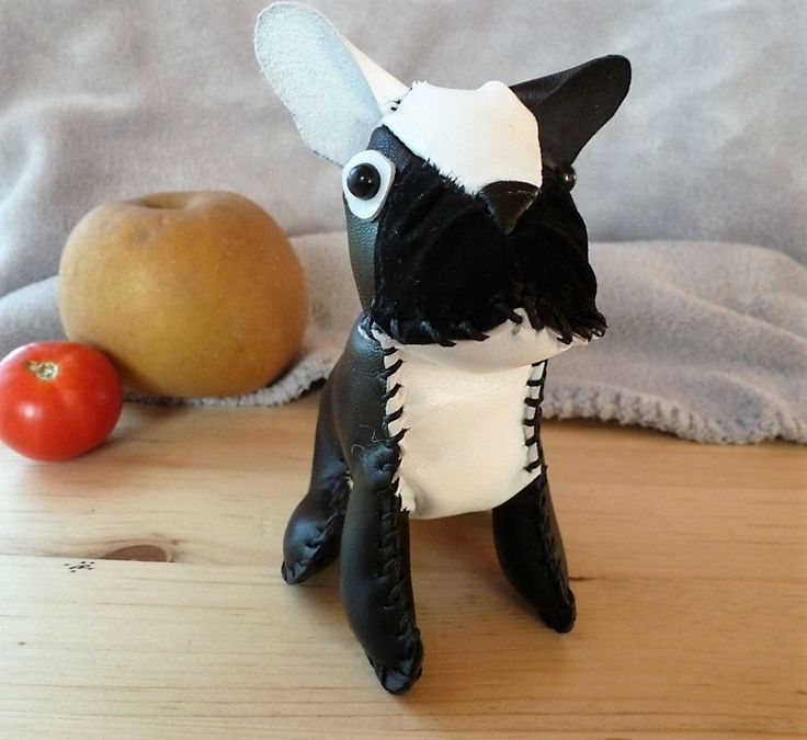 Mini bulldog francés cuero blanco&negro de Decopet67 en Etsy