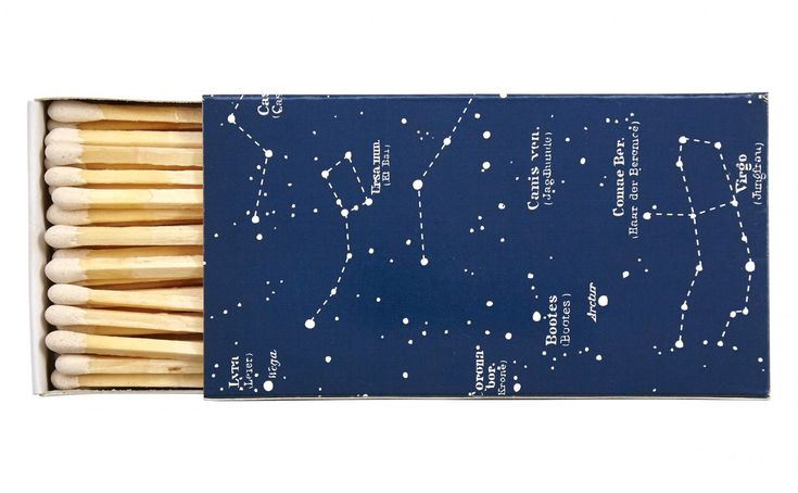 "Our Constellation Matches feature the constellations, star clusters and star names of the northern sky. They're perfect for lighting a candle or the fireplace on a cold, clear winter's night. Our Constellation Matches make a thoughtful hostess gift, even more so when accompanied by a fragrant candle from our Jayson Home collection. 		    •4.25"" x 2.5""  •50 matches  •3.75"" long   •match tip coordinates with cover"