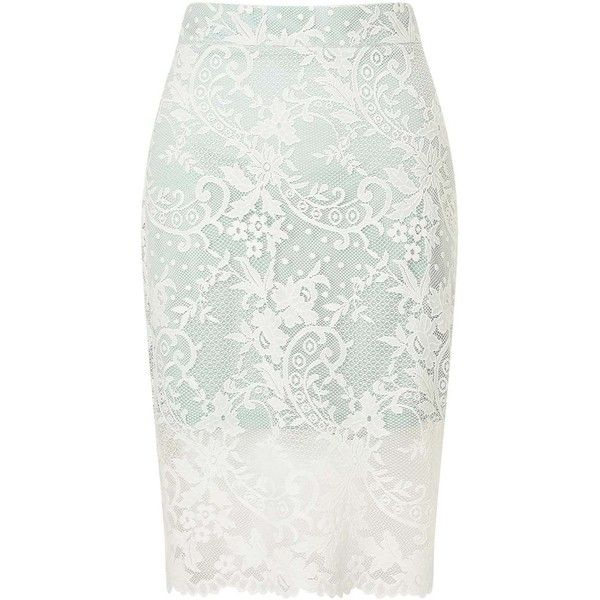 Miss Selfridge PETITE Lace Pencil Skirt ($68) ❤ liked on Polyvore featuring skirts, mint green, petite, mint pencil skirt, white skirt, mint green skirts, knee length lace skirt and white lace skirt