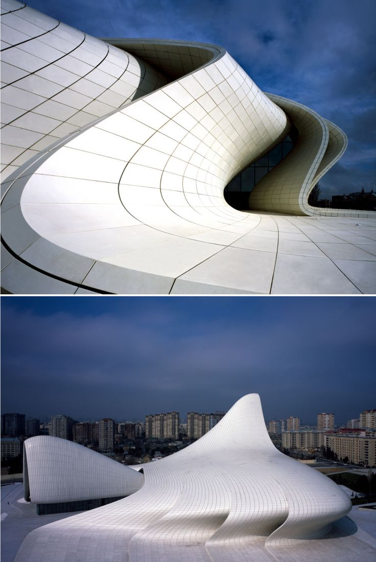Zaha Hadid - Heydar Aliyev Center Um dos edifcios mais bonitos que j vi.