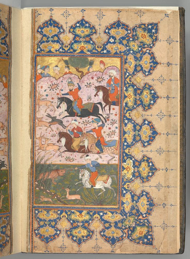 Masnavi of Jalal-al Din Rumi  Object Name:Illustrated manuscript Date:dated A.H. 894/A.D. 1488–89 Geography:Attributed to Iran. The frontispiece of this six book manuscript depicts a lively scene in which mounted hunters use swords, bows, and arrows to pursue their prey.  Other paintings of receptions and feasts provide further insight into the courtly life of the Timurid period