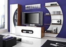 Wohnwand weiss-nussbaum Hochglanz sehr Modern Anbauwand TV Wand 589€