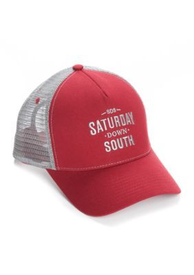 Saturday Down South Men's Classic Trucker Hat - Burgandy Grey - One Size Fits All
