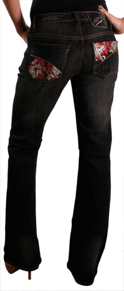 Ed Hardy Christian Audigier Womens Beautiful Ghost Straight Leg Slim Fit Jeans Denim